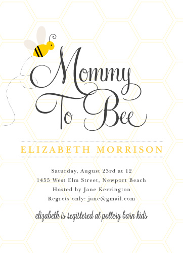 The Mommy-To-Bee Baby Shower Invitations are the perfect choice for a bee themed baby shower.