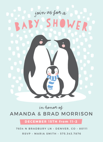The Penguin Winter Baby Shower Invitations are sure to get everyone in the mood for the winter season!