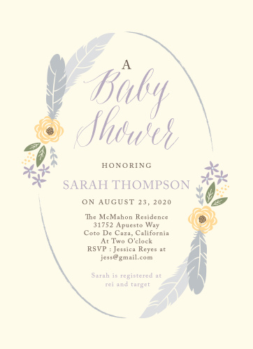 Bohemian Feather Baby Shower Invitations
