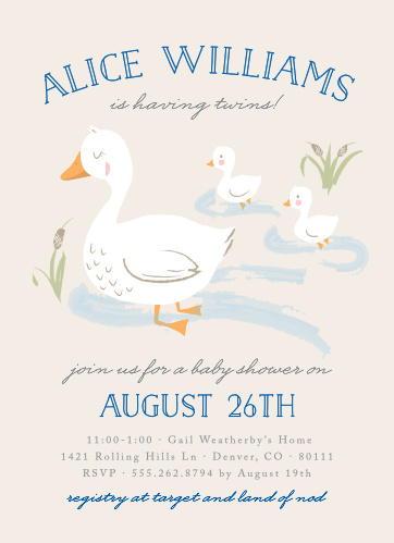The Twin Ducks Baby Shower Invitation is perfect for those parents that are about to do double-duty!