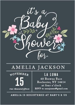Garden Flowers Baby Shower Invitations