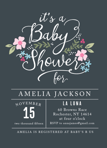 The Garden Flowers Baby Shower Invitations are perfect for a springtime shower or year-round-floral-lovers!