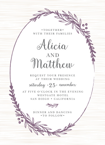 Frame your invitation in a beautiful wreath with the Delicate Laurel Wedding Invitations.