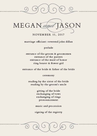 The elegant curves of the Swirl Frame Wedding Programs will help you and your guests stay organized