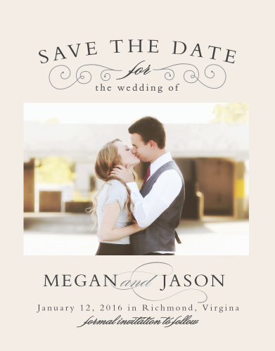 Matching the Swirl Frame Invitations are the similarly beautiful Save-the-Date Cards.