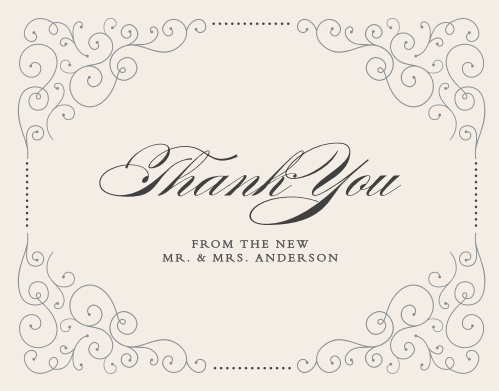 Saying thank you to your family, friends, and guests with the Swirl Frame Thank You Cards will leave a lasting good impression of your wedding.