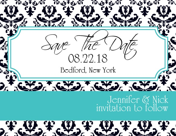 The Victorian Charm save the date card is vintage styled save the date with your choice of over 100 background patterns to choose from.