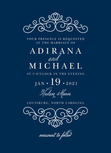 Rich navy and beautiful silver come together to make the Royal Scrolls Wedding Invitation.
