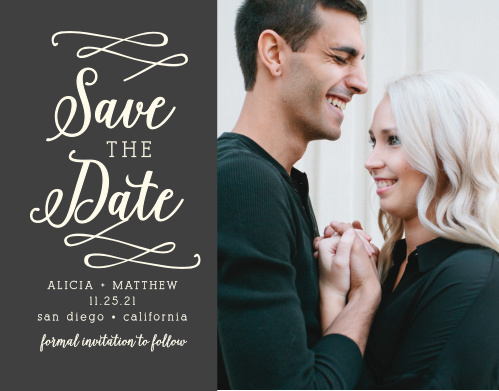 Your photo will look amazing next to the beautiful accents on these exquisite Whimsical Calligraphy Save-the-Date Cards.