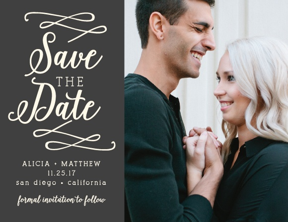 Your photo will look amazing next to the beautiful gold accents on these exquisite Whimsical Calligraphy Save-the-Date Magnets.