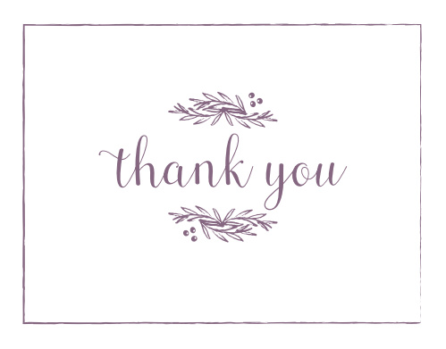 Express your gratitude to family and friends with the Delicate Laurel Thank You Cards.