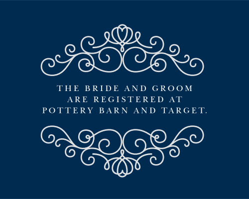 The Royal Scrolls Registry Cards are a beautiful and elegant way to direct your guests to your wedding registry.