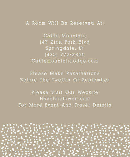 Don't over crowd your invitation with too much information! The Confetti Dots Accommodations card is perfect for telling your guests the most convenient places to stay.