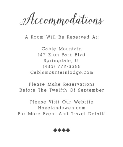 Make sure guests know the best places to stay and how to travel to be at your wedding with the Whimsical Calligraphy Accommodation Cards!