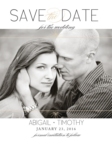 The Stylized Sunbursts Save-the-Date Magnets highlight you and your fiancé with the photo being the focus of the card.
