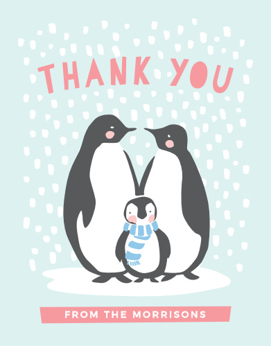 Let your guests know how grateful you are with the Penguin Winter Baby Shower Thank You Cards!