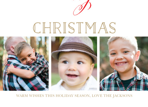 Send a very merry greeting this season with the Festive Script Christmas Photo Cards.