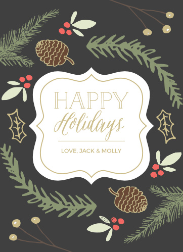 Make someone's season merrier with the Illustrated Foliage Foil Holiday Cards.