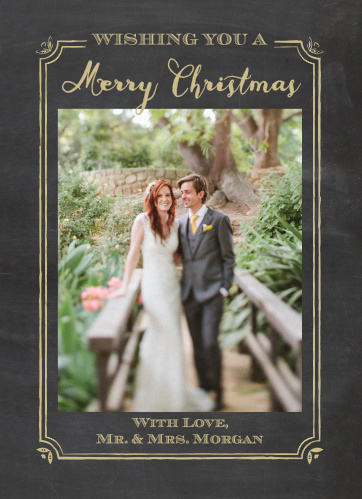 Send this year's holiday greetings with the polish of the Elegant Chalkboard Frame Foil Christmas Cards from the Love Vs Design Collection.
