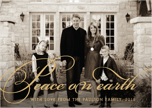 Spread love and goodwill this holiday season with the Peace on Earth Foil Holiday Cards.
