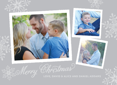 Send holiday wishes and some old-time charm with the Rustic Snowflake Foil Christmas Cards.