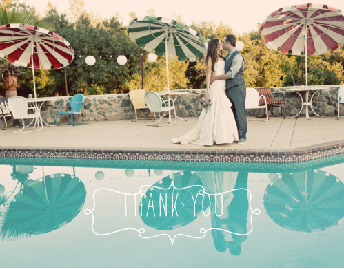 Share your newlywed happiness and gratitude with the Blue Skies Photo Thank You Cards.