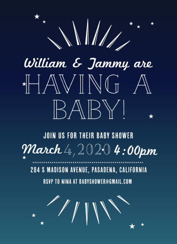 The Bright Night baby shower invitations have a dark blue background with tiny stars throughout giving your design a fun and unique look.