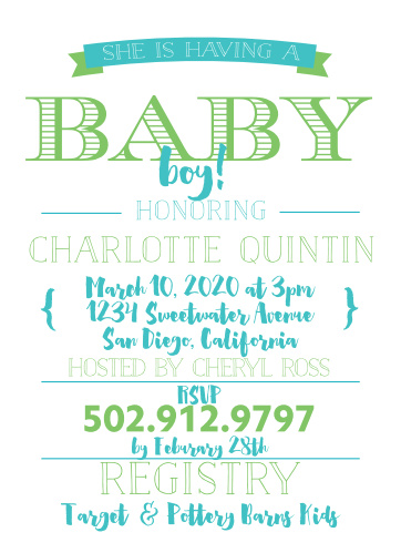 The Bold Type baby shower invitations use typography to create a creative look that is sure to make your invite stand out.