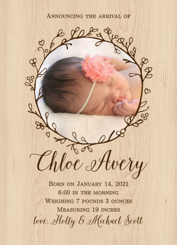 The Adorable Branch birth announcements are a rustic photo styled invite with a circular photo of the newest addition surrounded by a wreath of branches with small flower buds.
