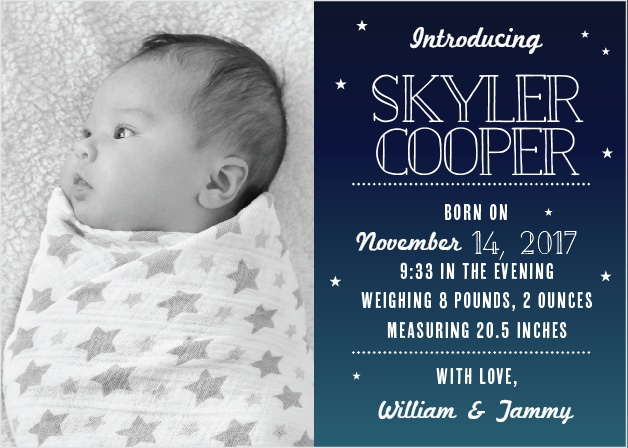 The Bright Night birth announcements give you half the card to show off your new bundle of joy with a great big photo.
