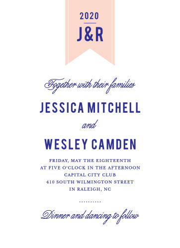 Invite friends and family to celebrate your union with the Modern Banner Wedding Invitation from the Crafty Pie Collection at Basic Invite.