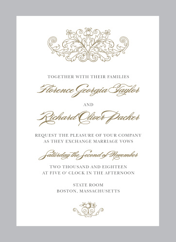 Formally invite guests to celebrate your union with the Vintage Damask Wedding Invitations from the Crafty Pie Collection at Basic Invite.