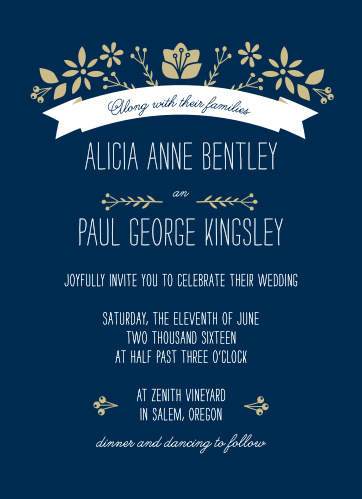Invite friends and family to celebrate with the Folksy Floral Wedding Invitations from the Crafty Pie Collection at Basic Invite.