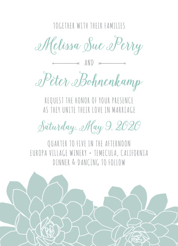 Style and whimsy collide to make the Sweet Succulents Wedding Invitations.