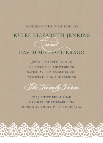 A beautiful lace detail garnishes the bottom of the Rustic Lace Wedding Invitations.