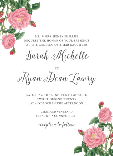 Invite guests to your romantic wedding with the Budding Blooms Wedding Invitations from the Crafty Pie Collection at Basic Invite.