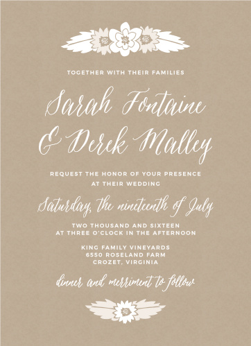 The Rustic Floral Wedding Invitations feature charming flower bunches atop a kraft pattern background.
