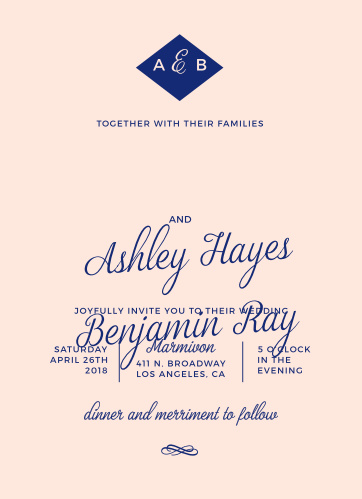 Script fonts and a modern design combine to create the Diamond Monogram Wedding Invitations from the Crafty Pie Collection at Basic Invite.