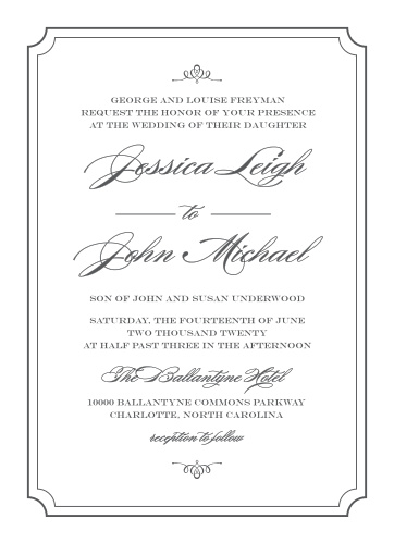 Invite guests to your posh event with Elegant Script Wedding Invitations from the Crafty Pie Collection at Basic Invite.