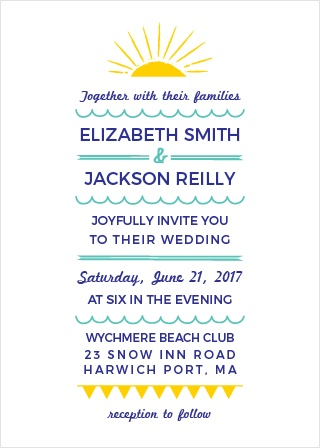 The Modern Beach Wedding Invitations' fun and laid-back style are perfect for a beach-themed wedding.