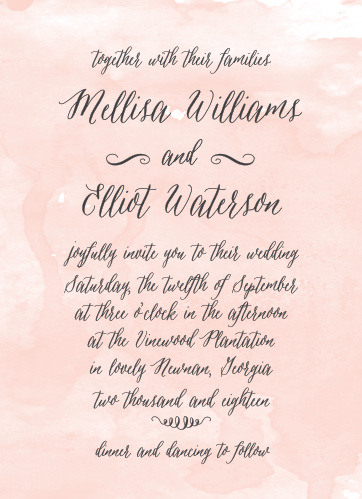 Announce your upcoming event with the soft elegance of the Watercolor Script Wedding Invitations from the Crafty Pie Collection at Basic Invite.