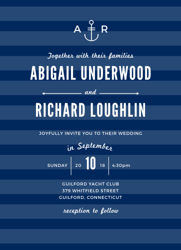 The Modern Nautical Wedding Invitations are part of the Crafty Pie collection by Basic Invite. Now you can take your favorite invitation and instantly design it online with real-time previews. Start by matching your wedding colors on the Vintage Frame Wedding Invitations with your choice of over 150 truly custom colors. Then add your wording and make it truly unique by choosing a font that shows off your style.