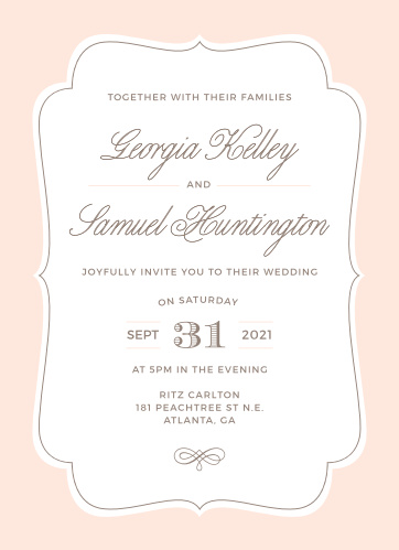 Invite friends and family to join you on your happy day with the Vintage Frame Wedding Invitations from the Crafty Pie Collection at Basic Invite.