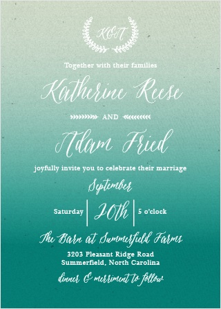 Rustic Ombre Wedding Invitations