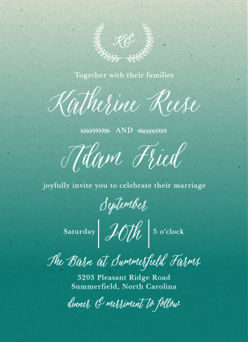 Hand-drawn laurels and a printed gradient background with the look of texture combine to create the Rustic Ombre Wedding Invitations.