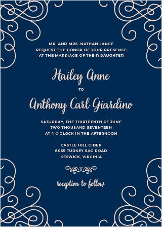 Ornate swirls surround your custom text on the Modern Love Wedding Invitations. This romantic design is from the Crafty Pie Collection at Basic Invite. Use our collection of over 100 hand-picked fonts and our palette of more than 160 custom colors to personalize this design.