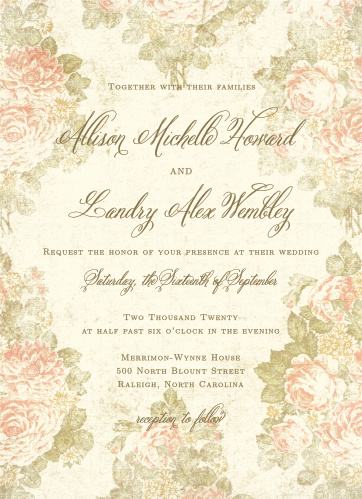 Invite friends and family to the event of the season with the timeless elegance of the Romantic Vintage Wedding Invitations.