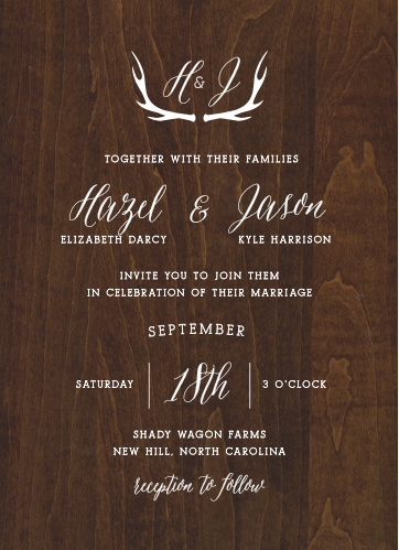 Invite friends and family to your elegant country wedding with the Rustic Wood Wedding Invitations from the Crafty Pie Collection at Basic Invite.