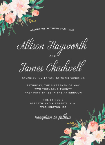 Formal wedding invitations match your color style free blossoming love wedding invitations stopboris