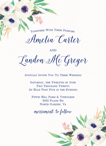 Invite guests to celebrate your union with the Watercolor Anemone Wedding Invitations from the Crafty Pie Collection at Basic Invite.